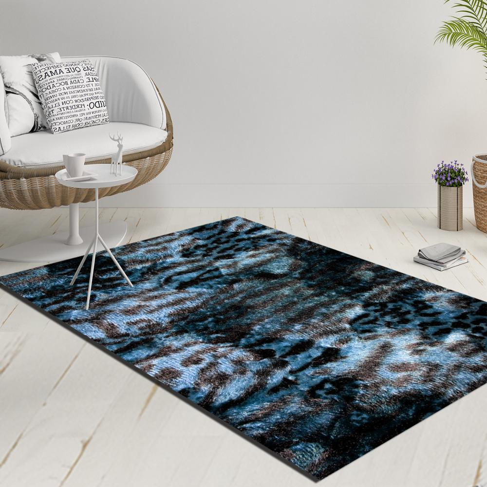 Else Blue White Black Vintage Leopard Fur Decorative 3d Print Anti Slip Kilim Washable Decorative Kilim Rug Modern Carpet