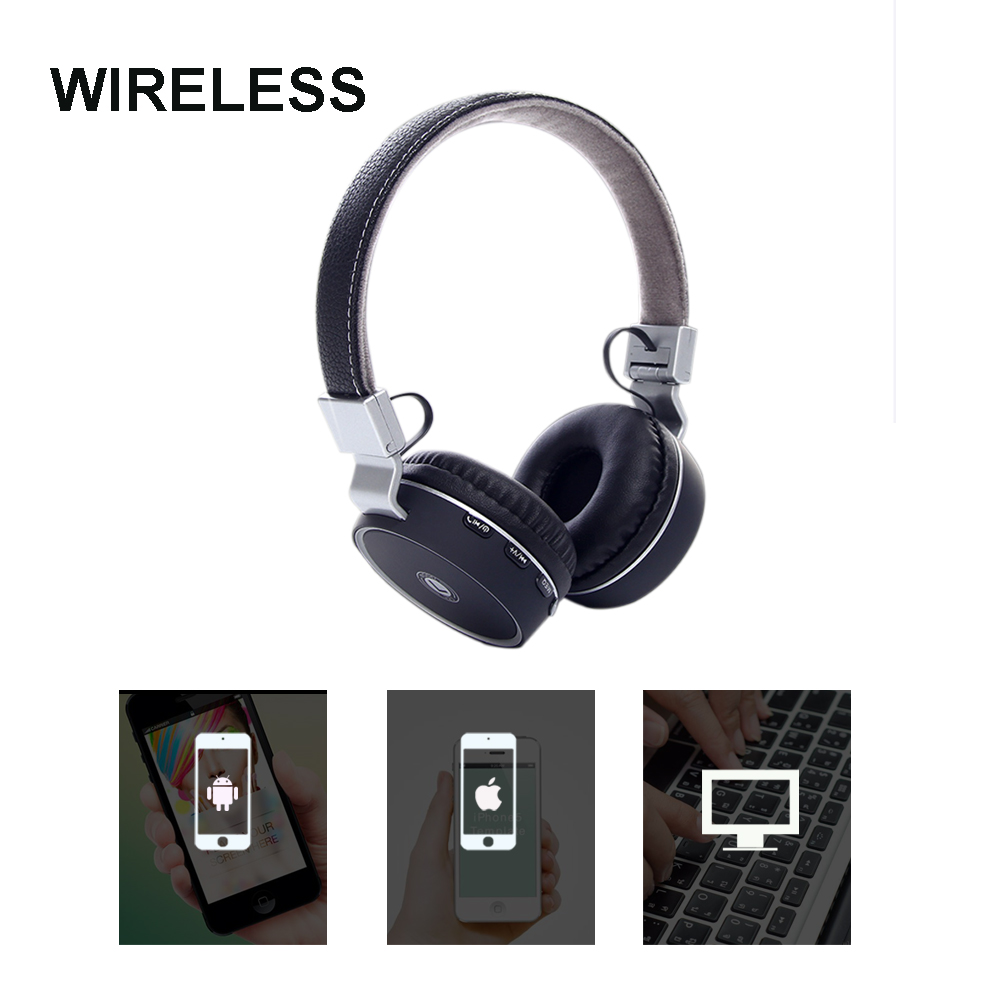 Portable Wireless Bluetooth Headphones Headset Earphone Earbuds Earphones With Mic Support SD FM for Laptop Phone