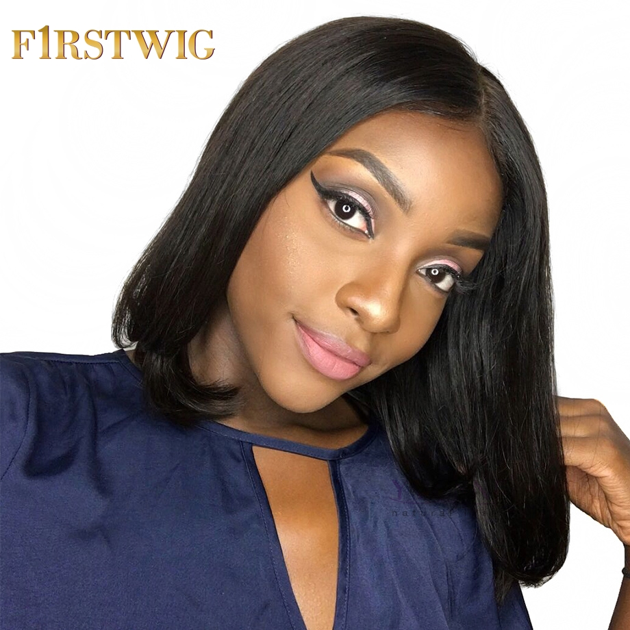 Firstwig Short Lace Front Human Hair Wigs Bob Wig Straight For Black Women Brazilian Virgin Hair Pre Plucked 250 Density