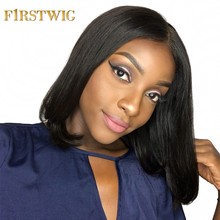 Firstwig Short Lace Front Human Hair Wigs Bob Wig Straight for Black Women Brazilian Virgin Hair Pre Plucked 250 Density(China)