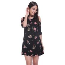 Пикантные с открытыми плечами Платье с круглым вырезом Цветочный принт пляжное платье Повседневное с расклешенными рукавами женское платье