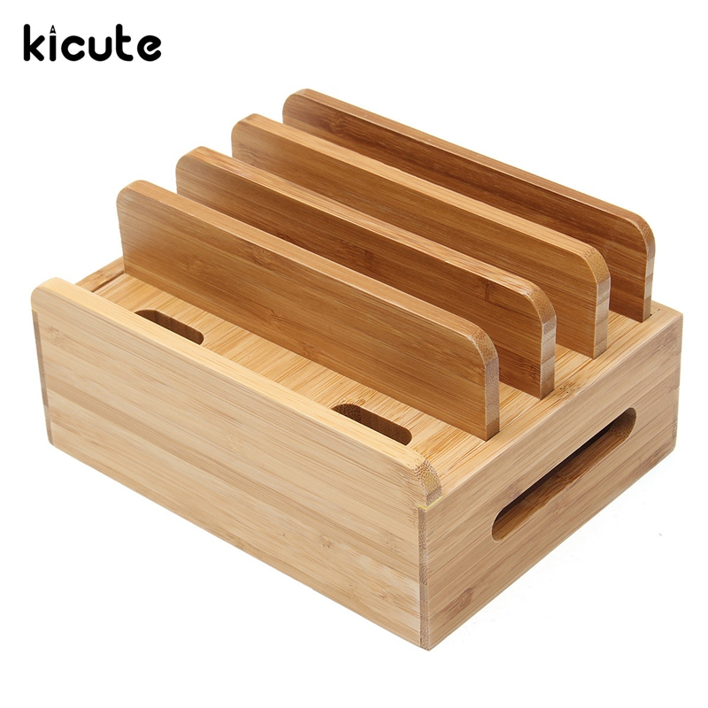 Kicute Multifunction Bamboo Charging Dock Stand Holder Organizer For Book Pen Holder Desktop Supply Home Office School Supply