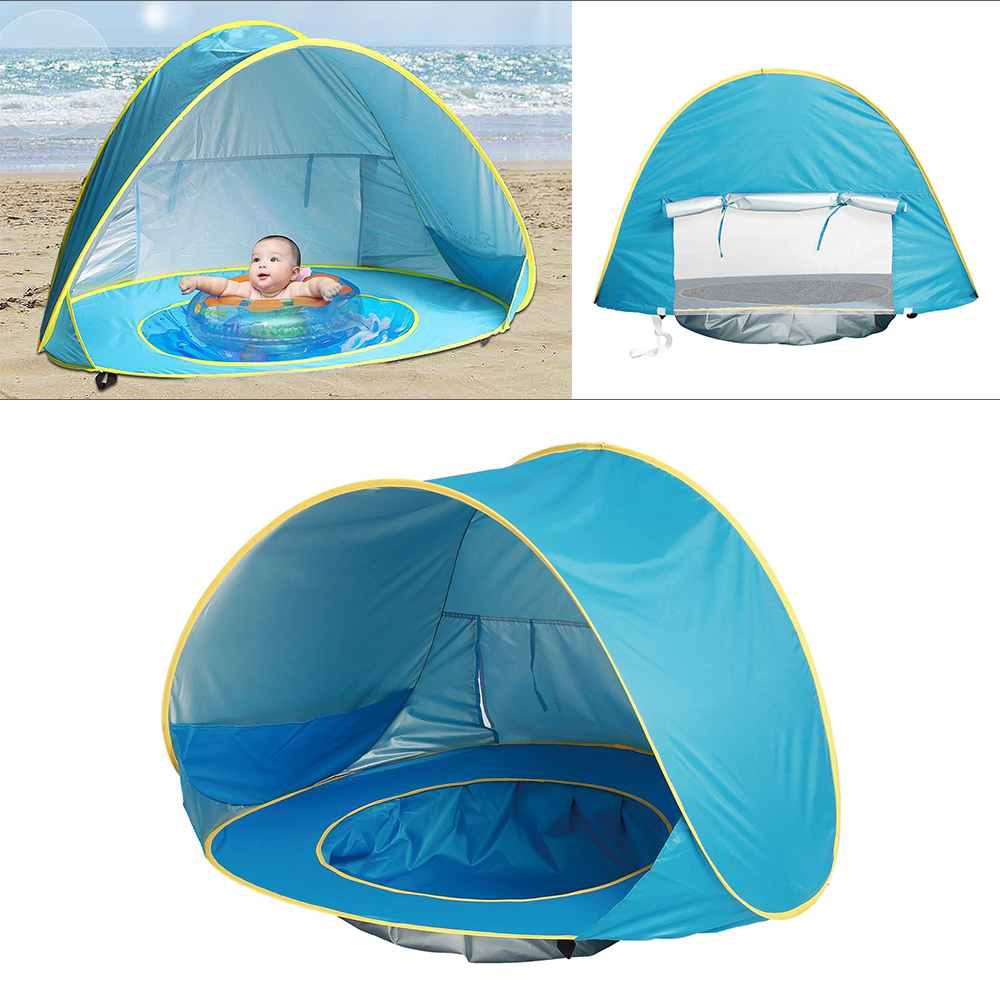 Summer Baby Beach Tent UV-protecting Sunshelter with Pool Waterproof Pop Up Awning Tent Children 's Tent Kids Small House baby beach tent portable outdoor beach pool playing house uv protecting sunshelter with pool waterproof pop up awning tent