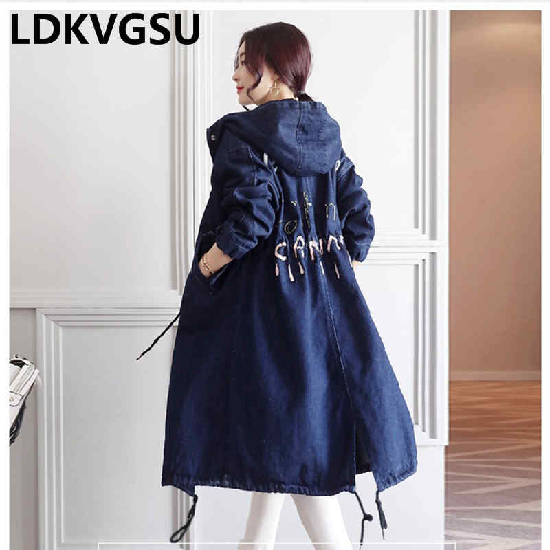 2018 Spring Autumn Women Hooded Denim   Trench   New Korean Buttons and zippers Casual Loose Coat Female Long Denim Coat Is112