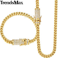 Trendsmax Miami Fraco Box Womens Mens Jewelry Set 316L Stainless Steel Iced Out Cubic Zirconia CZ