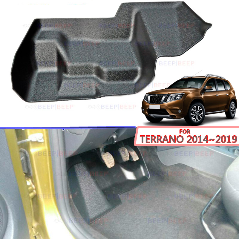 Plate Under The Pedals On Inner Carpet  For Nissan Terrano 2014~2019 Plastic ABS Accessories Car Styling Dirt Protection Carpet