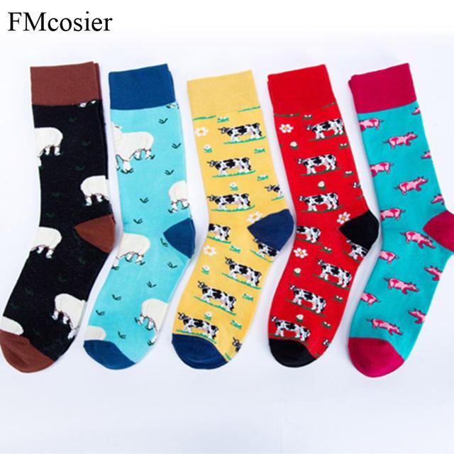 5 Pairs Winter Cotton Thick Mens Funny Socks For Men Happy Crew Socks Calcetines Man Sokken Heren Gifts Socken 44 46 42
