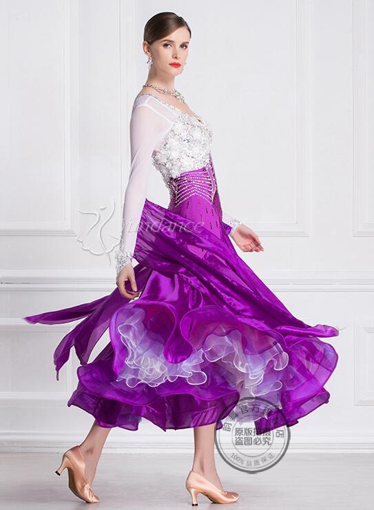 ballroom dress  woman purple white ballroom dresses dance customize ballroom dress competition lycra B-18140