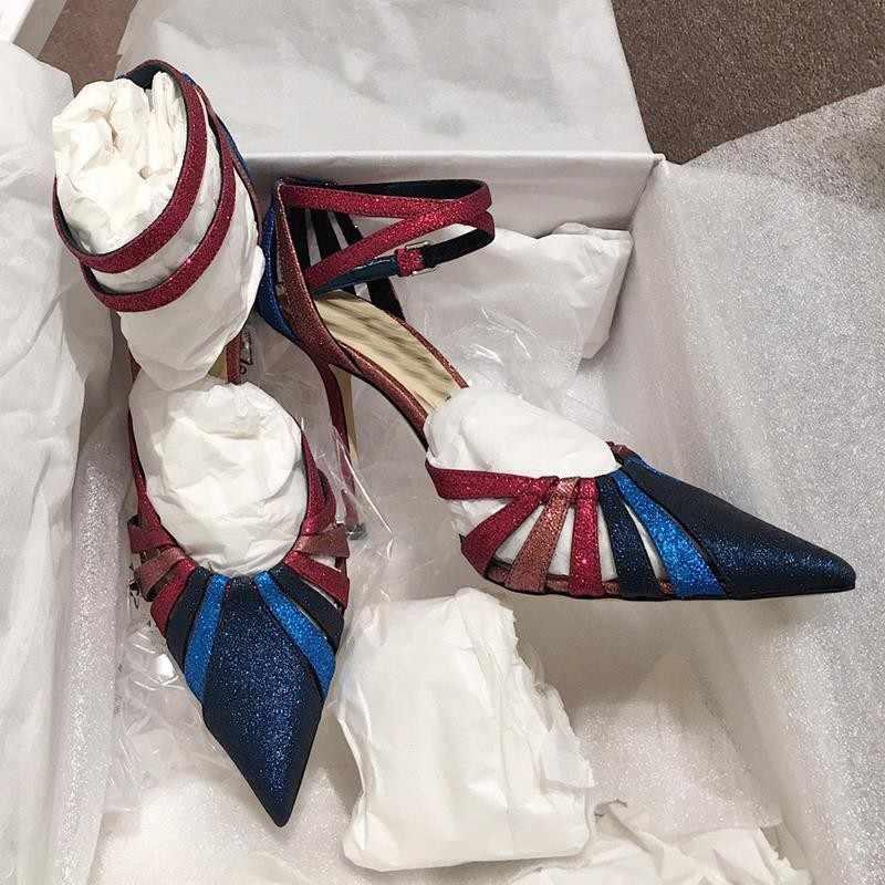 Mengatasi Sandal Wanita Hak Tinggi dengan Tali Simpul Musim Panas Sepatu Wanita Pompa Cut-Out Sandalias Mujer 2019 Cut- out Wanita Sepatu
