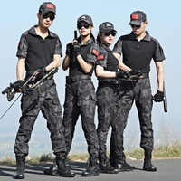 Military Uniform Tactical Camouflage Clothing Combat Shirt Tactico Uniforms Special Force Hunting Clothes Knee Pads Men CS Suit