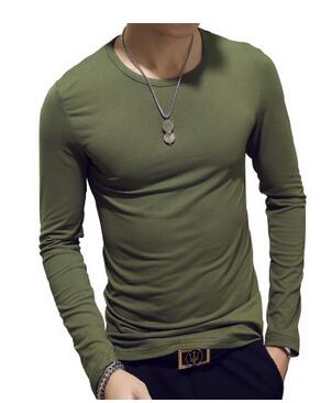 ECTTC Solid Color Plus Size S-XXXL Round Neck T Shirts Men Long Sleeve Cotton Fitness Men's Undershirt Hot 2019 Hot Fashion Tops