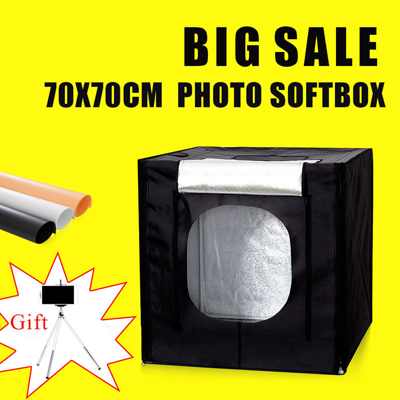 70*70*70CM Portable Led Light Photo Softbox Studio For Photography Light Room Photo Studio Photo Soft Box Kit With Free Gift puluz 40 40cm 16light photo studio box mini photo studio photograghy softbox led photo lighting studio shooting tent box kit