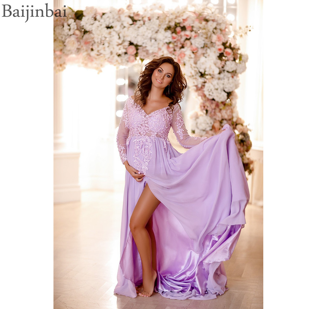 Baijinbai Maternity Long Sleeves Prom Dresses V-neck Appliques Lace Pregnant Shooting Photo Front Slit Chiffon Evening Dress