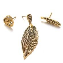 3Pcs/Set Punk Tree of Life Heart Feather Ear Stud Vintage Women Earrings Jewelry