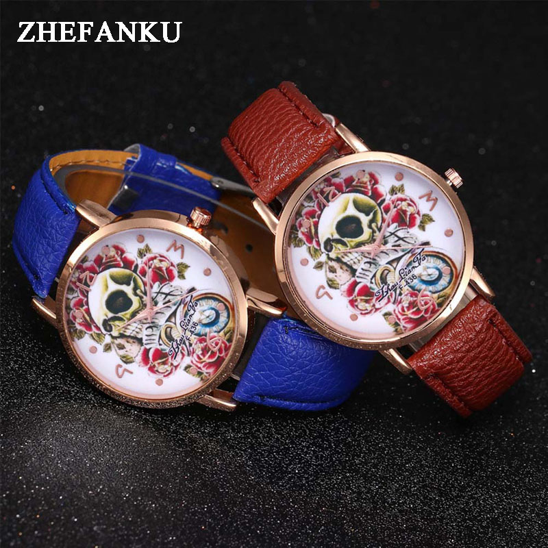 Women Quartz Watches Ladies Cool Design Flower Skull Handmade Leather Watch Band Bracelet Dress Watches Relojes Hour Clock