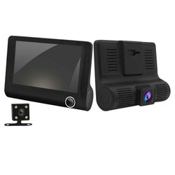 (without memory card) new 4-inch three-lens driving recorder inside and outside the three recording recorder (including high-def