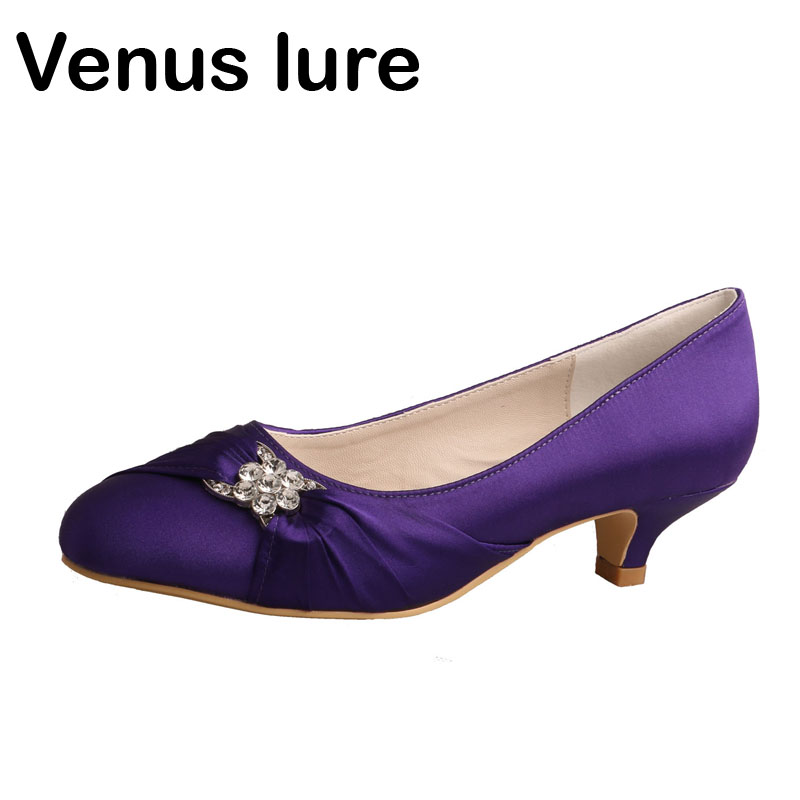 Venus lure Custom Handmade Closed Toe Purple Satin Low Heel Ladies Wedding Shoes for BrideVenus lure Custom Handmade Closed Toe Purple Satin Low Heel Ladies Wedding Shoes for Bride