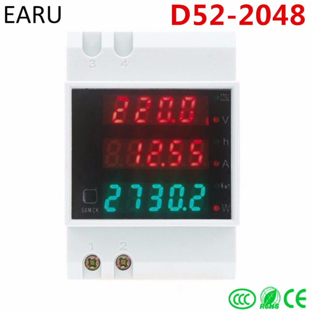 Din Rail AC 80-300V 0-100.0A Ammeter Voltmeter Volt Amp Meter LED Display Active Power Power Factor Time Energy Voltage Current ac 80 300v 0 2 99 9a ammeter voltmeter din rail led volt amp meter display active power power factor time energy voltage current