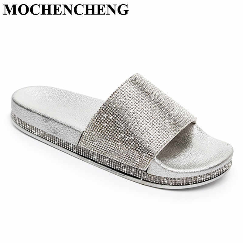 b184fdadcaa9 New Slippers Women Shoes with Bling Decor Flat Home Slippers Soft Anti-skid  Design Bathroom