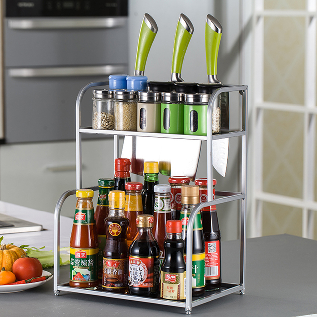 kitchen spice rack how much is a remodel double layers metal seasoning jar storage shelf with chopping block spices