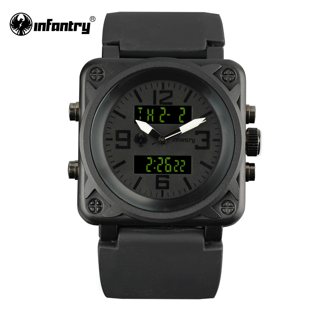 INFANTRY Mens Watches Top Brand 2018 Military Watch Men Digital Watches for Men Square Black Tactical Sport Relogio Masculino infantry military watch men led digital wristwatch mens watches top brand sport tactical black stainless steel relogio masculino