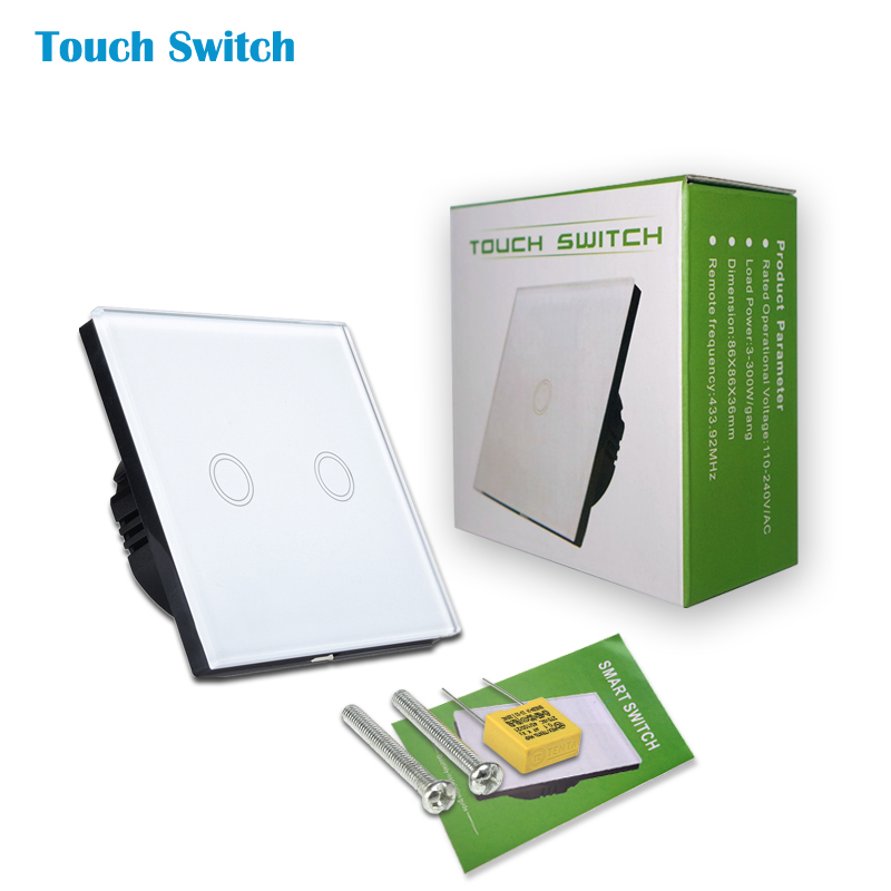 EU Standard, 2 Gang 1 Way Wall Touch Switch,Crystal Glass Switch Panel, Wall Light Touch Screen Switch smart home uk standard crystal glass panel wireless remote control 1 gang 1 way wall touch switch screen light switch ac 220v