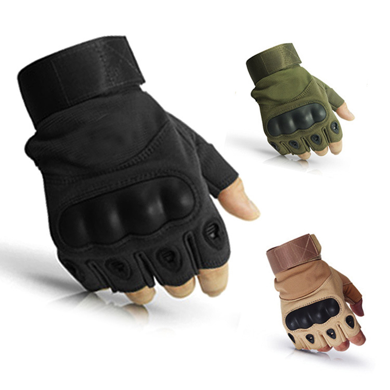 Tactical Hard Knuckle Half Finger Gloves Men's Army Military Combat Hiking Shooting Airsoft Paintball Police Duty - Fingerless