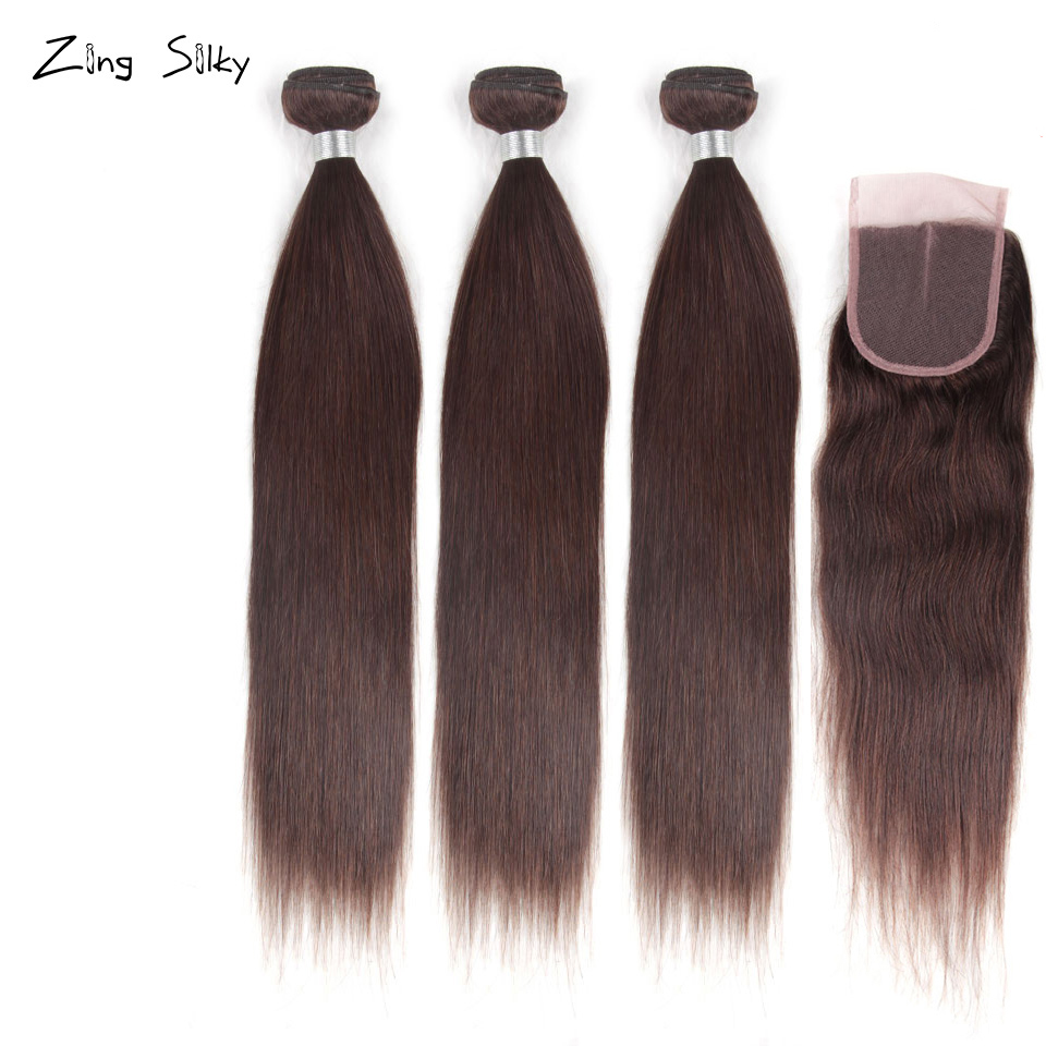 Brazilian Straight Hair Weave 100% Human Hair 3 4 Bundles With Closure Add Hair Remy Hair Extension Zing Silky Hair Vendors Sale
