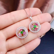 KJJEAXCMY boutique jewelry 925 sterling silver inlaid natural tourmaline tourmaline gemstone female ring necklace pendant suppor natural multicolor tourmaline pendant s925 silver natural gemstone pendant necklace trendy round fireball women party jewelry