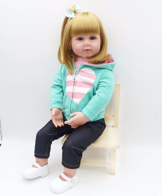 new lovely 56cm american girl simulation newborn baby girl best childrens day gift christmas gift silicone