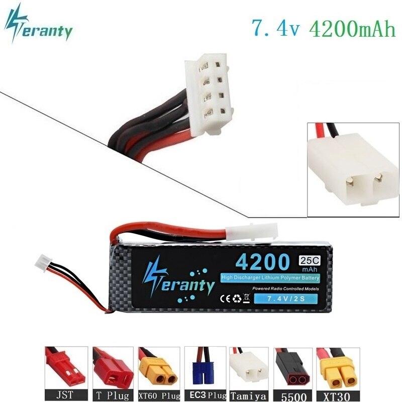 Tamiya Connecteurs 7.4 v 4200 mah 25C-35C 2 s LiPo Batterie pour RC Hélicoptère Avion Voiture Bateau 2 s 4200 mah 7.4 v Lipo Batterie T XT60