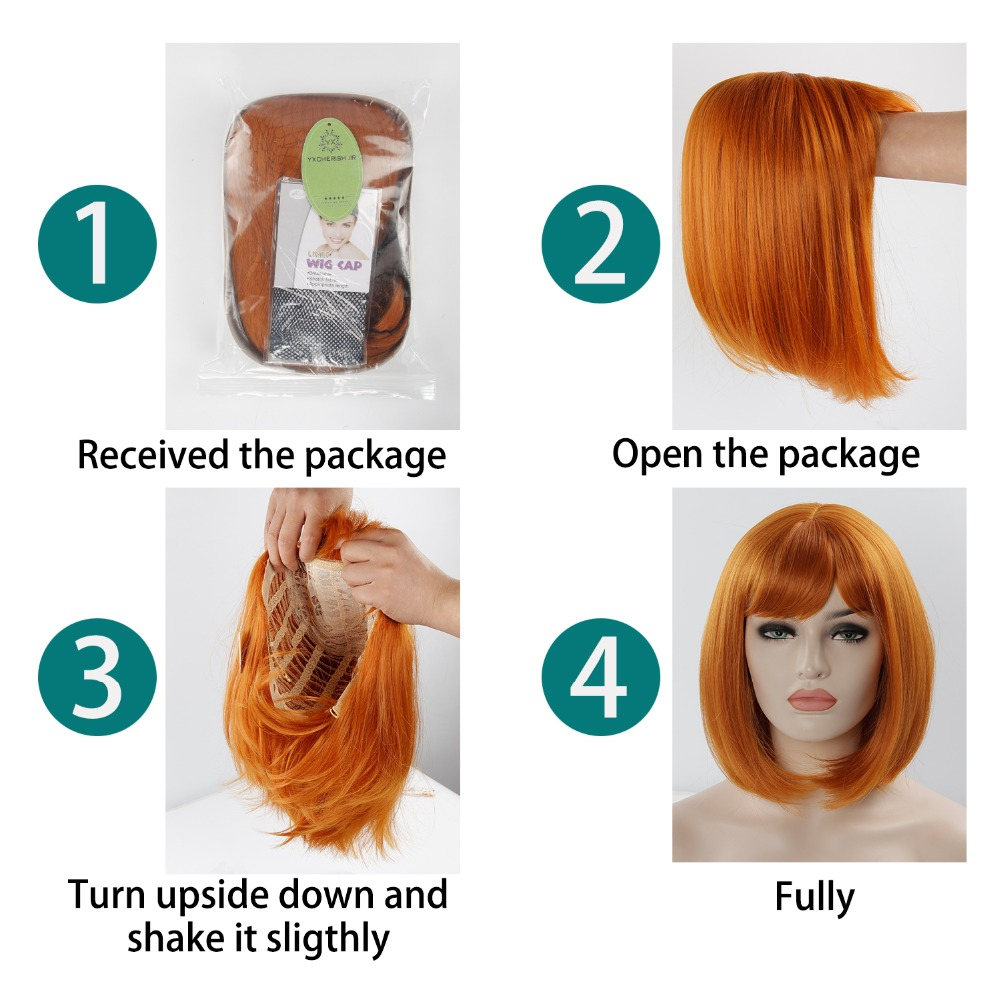 Synthetic short Wigs for Women Yellow Orange Color Lolita Wig 2019 New Arrivals Female Wig Cosplay 12 Inch Wigs with Bangs