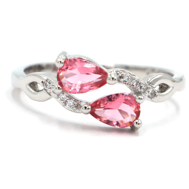 7.75# New Designed Drop Shape Pink Tourmaline White CZ Gift For Girls Engagement 925 Silver Ring 17x9mm