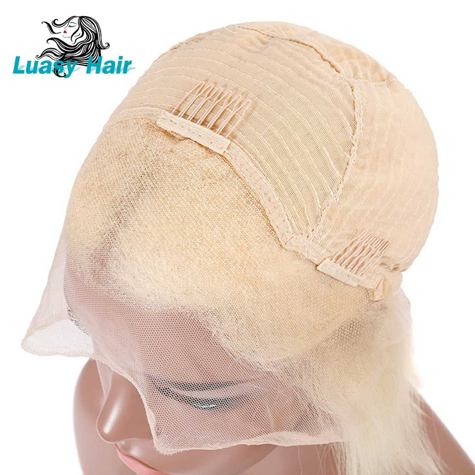 Luasy короткие светлые синтетические волосы на кружеве человеческие волосы парики для черных женщин перуанские прямые волосы боб парики с волосами младенца полный и толстый 1B 613