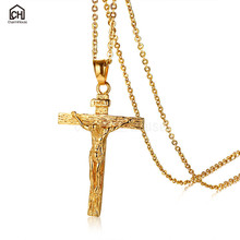 Gold/ Silver Color Necklace for Men 316L Stainless Steel Jesus Cross Necklaces & Pendants Male Jewelry Accessories Collares Gift