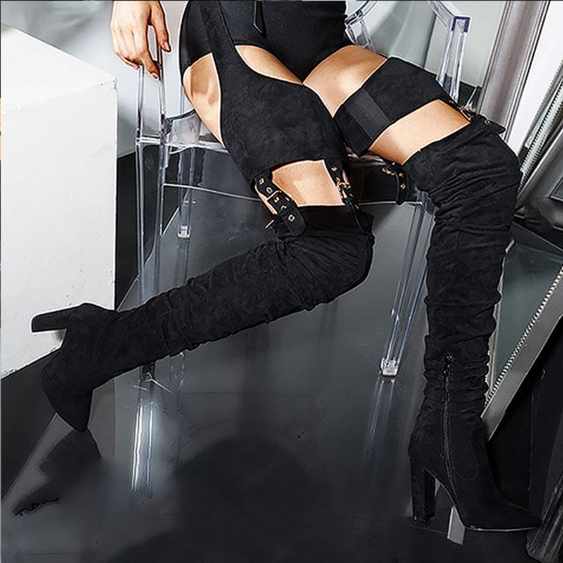 Perixir Rihanna Flock High Boots Winter Over Knee Fashion Heeled Boots Strap Solid Pointed Toe Square Heel Zip Rubber Boots 8