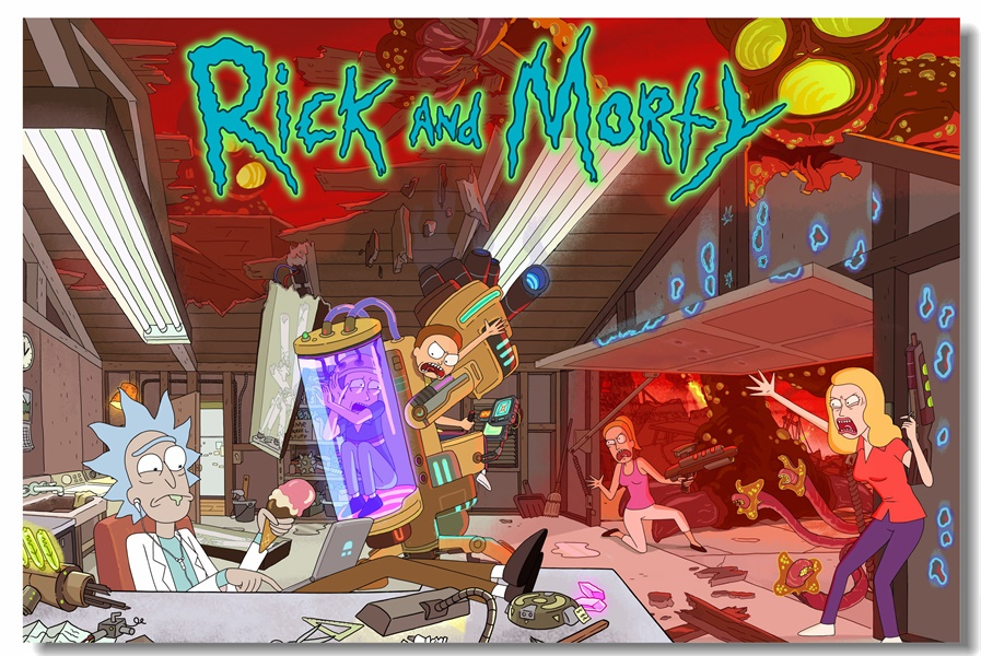 Us 575 28 Offcustom Canvas Wall Decorations Rick And Morty Poster Rick Morty Wallpaper Kids Anime Sticker Murals Christmas Wall Decals 0147 In