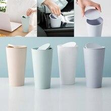 1 Pcs Creative Mini Desktop Waste Bins New Office Home Desk Trash Cups Simple Design Portable Basket With Swing Lid 2019