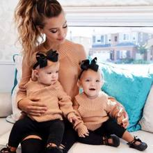 Family Matching Mom Kids Off Shoulder Knit Long Sleeve Sweater Pullover Jumper Womens Mom Enfant Girls Sweaters Top
