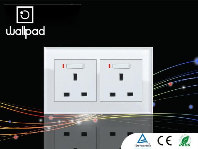 Wallpad 2*3 Pin Crystal Glass 2 Gangs UK Double Electrical Power ...