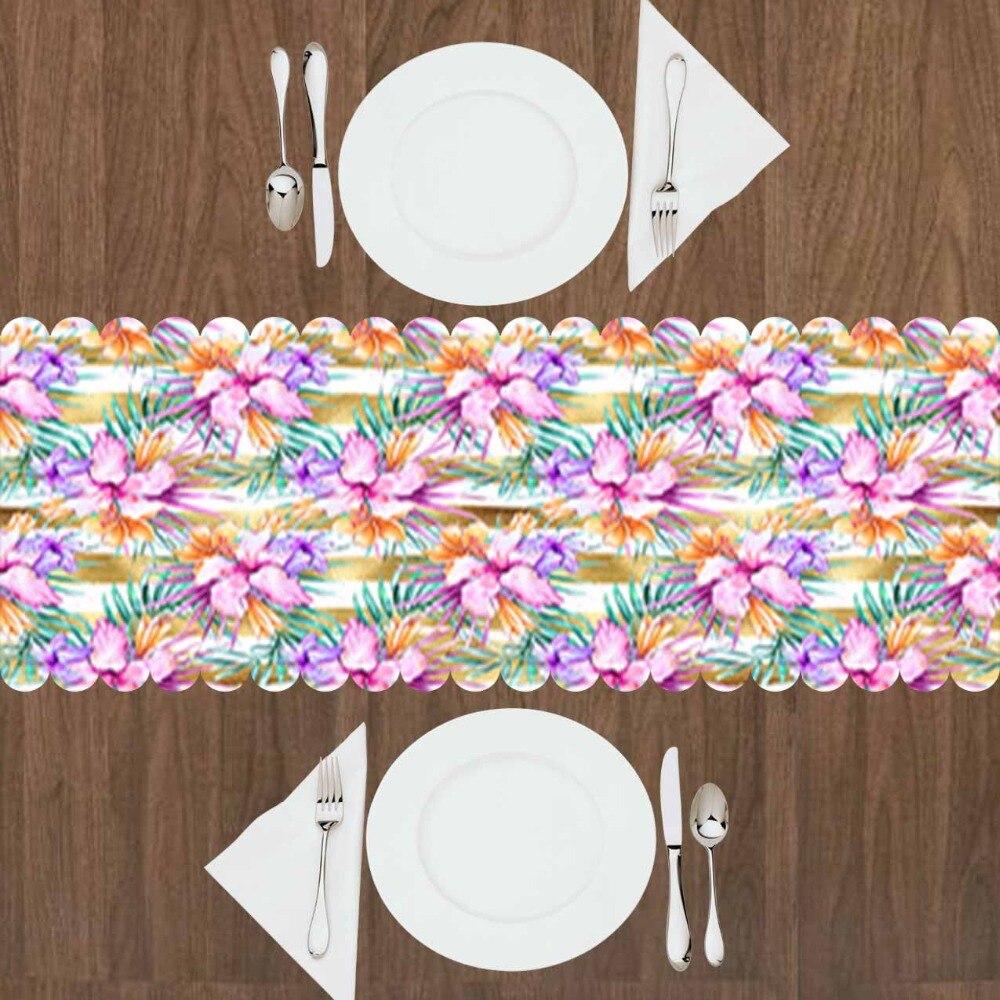 Else Pink Flowers Purple Orange Leaf Floral Yellow Line 3d Print Pattern Modern Table Runner  For Kitchen Dining Room Tablecloth