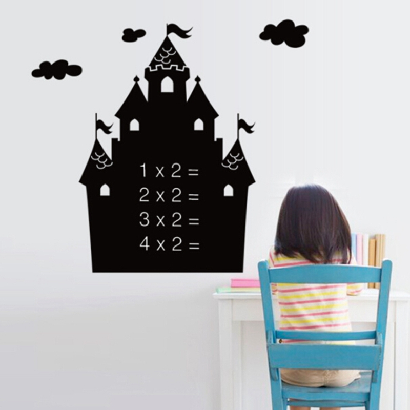 Kids Rooms Chalk Board Stickers Blackboard DIY with Transfer Film Cartoon Castle Removable Draw Decor Mural Decals Art