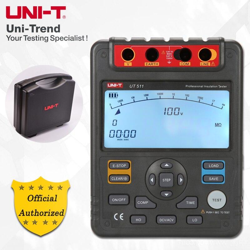 UNI-T UT511 probador de resistencia de aislamiento 1000 V megger, almacenamiento de datos/gráfico de barras analógico/DAR/sobrecarga y indicación de alta tensión