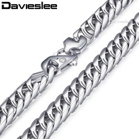 Davieslee Mens Necklace Chain Double Curb Cuban Rombo Link 316L Stainless Steel Silver Tone 15mm LHN57