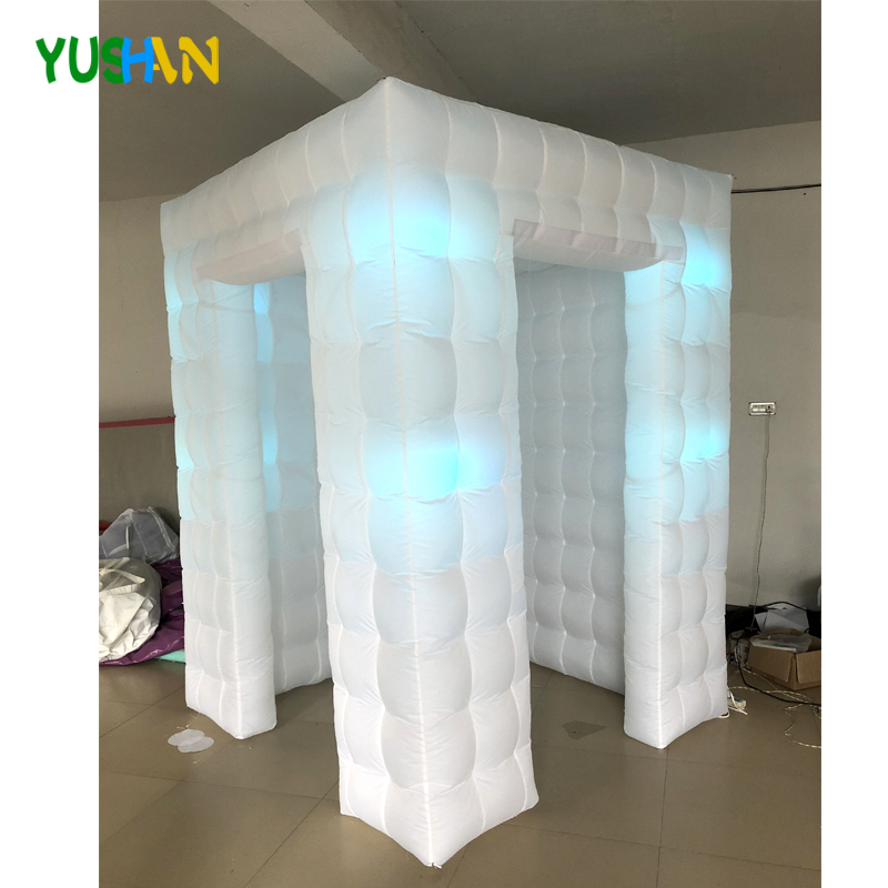 6*6*8ft Small Cube inflatable photo booth Party backdrop With 8PCS Bulbs Lights & Curtain  Inflatable Enclosure Tent Hot Sales