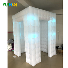 6*6*8ft Small Cube inflatable photo booth Party backdrop With 8PCS Bulbs Lights & Curtain  Inflatable Enclosure Tent Hot Sales 7 3ft inflatable photo booth party backdrops with led lights no equipment portable inflatable cabin tent wedding backdrop sales