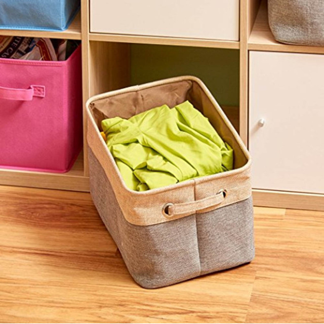 Cube Storage Bins, Foldable, Canvas Fabric Tweed Storage Cube Bin Set With  Handles