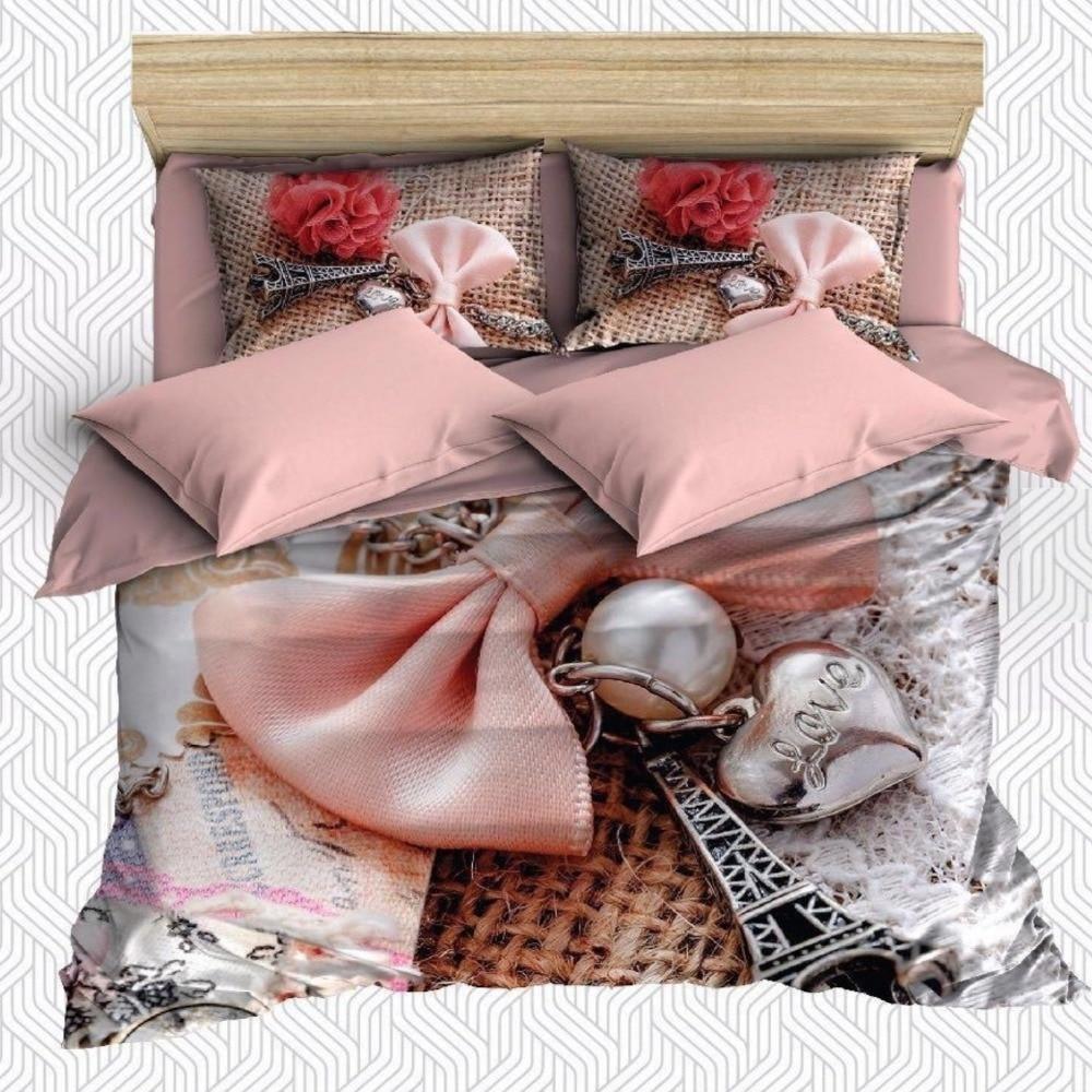Autre 6 pièces ruban rose Eyfel tour Roses rouges Floral impression 3D coton Satin Double housse de couette literie ensemble taie d'oreiller drap de lit