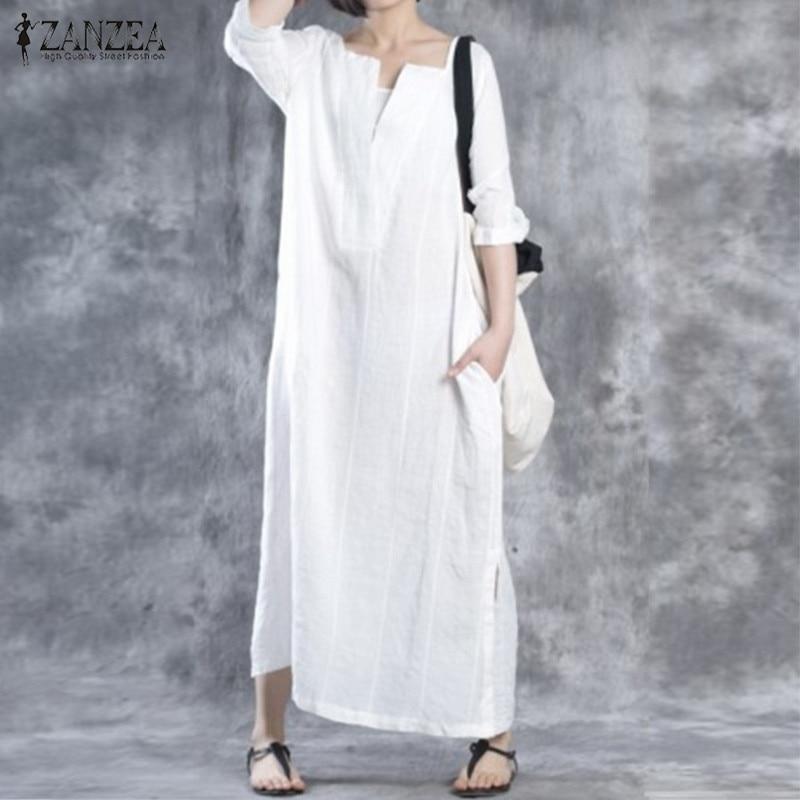 ZANZEA Women 2018 Autumn Dress V Neck Vintage Maxi Long Dresses Ladies Casual Loose Cotton Vestidos