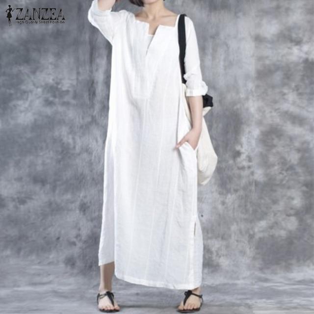 ZANZEA Women 2018 Autumn Dress V Neck Vintage Maxi Long Dresses Ladies Casual Loose Cotton Vestidos Plus Size
